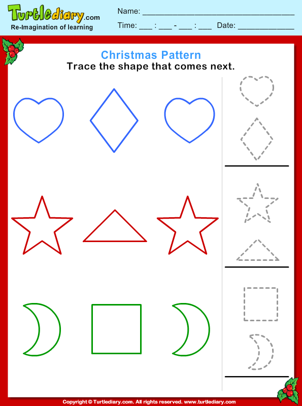 christmas pattern trace shape worksheet turtle diary. Black Bedroom Furniture Sets. Home Design Ideas