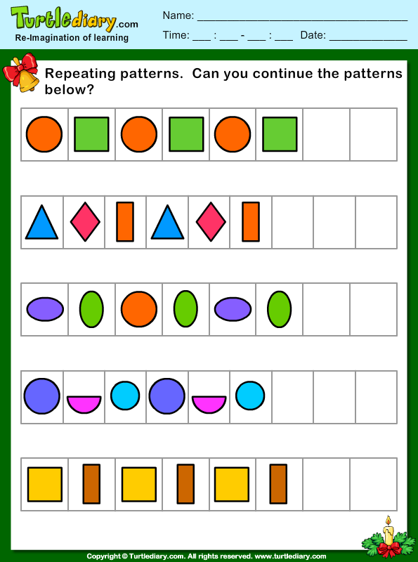 Free Worksheets u00bb Repeating Pattern Worksheets Year 1 ...