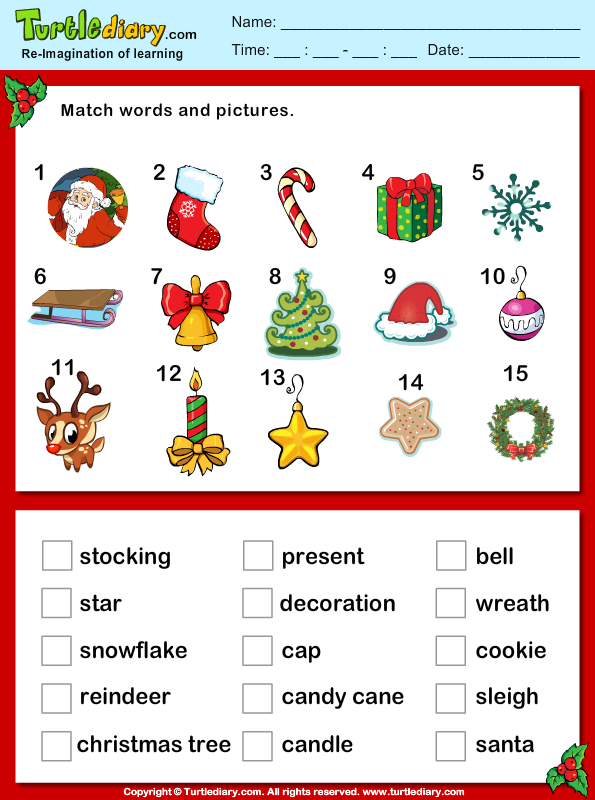 Christmas Vocabulary Words and Pictures Worksheet - Turtle Diary