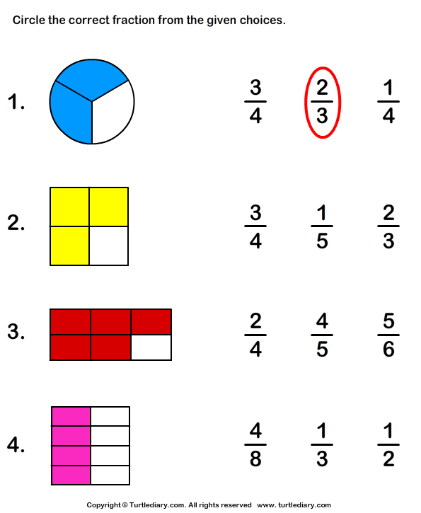 Circle Fraction Representing Shaded Portion Worksheet - Turtle Diary