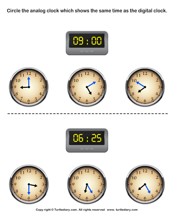 Circle the Analog Clock Matching with Digital Clock Worksheet ...