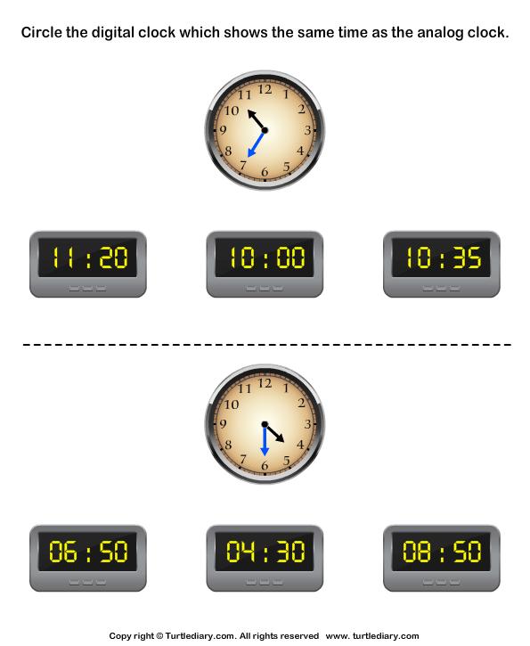 Match Analog and Digital Clocks