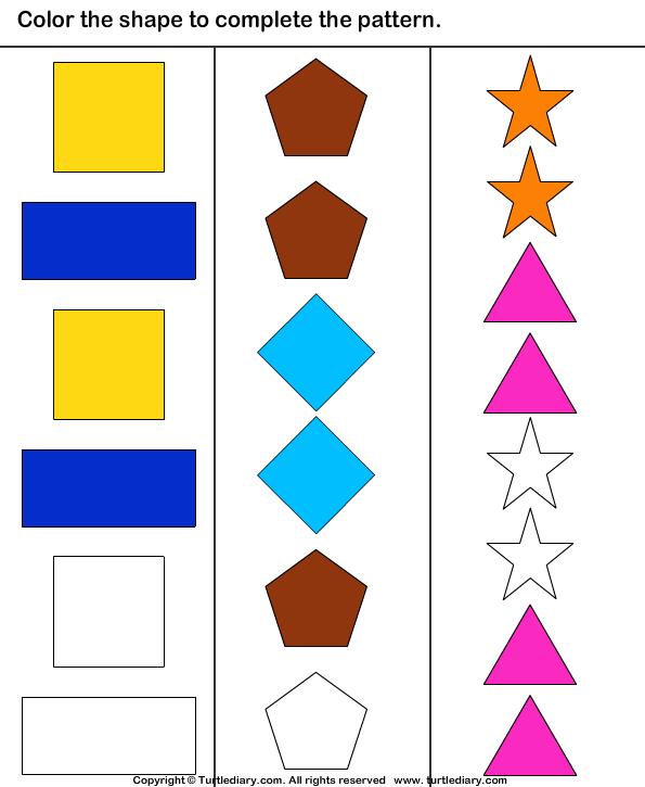 Color pattern worksheets free