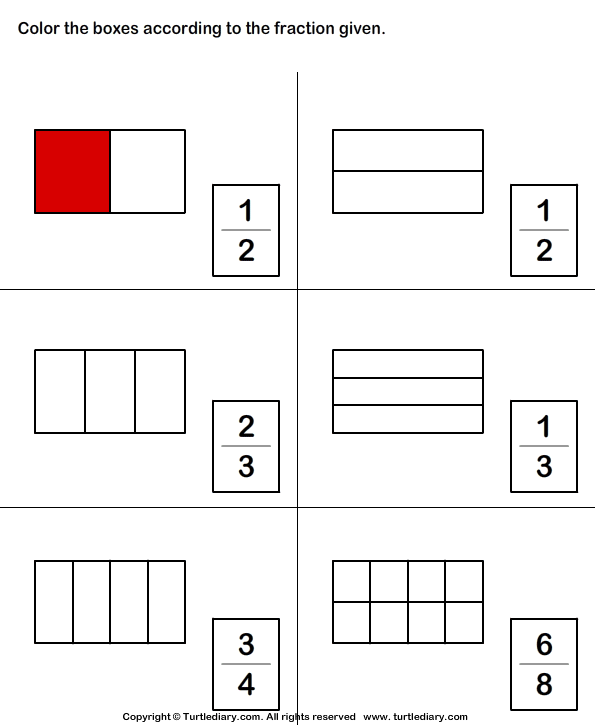 Color Shape to Show Fraction Worksheet - Turtle Diary