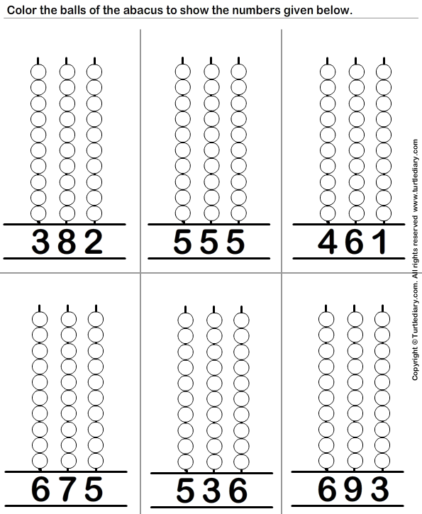 Color the Balls to Represent the Number on Abacus Worksheet - Turtle ...