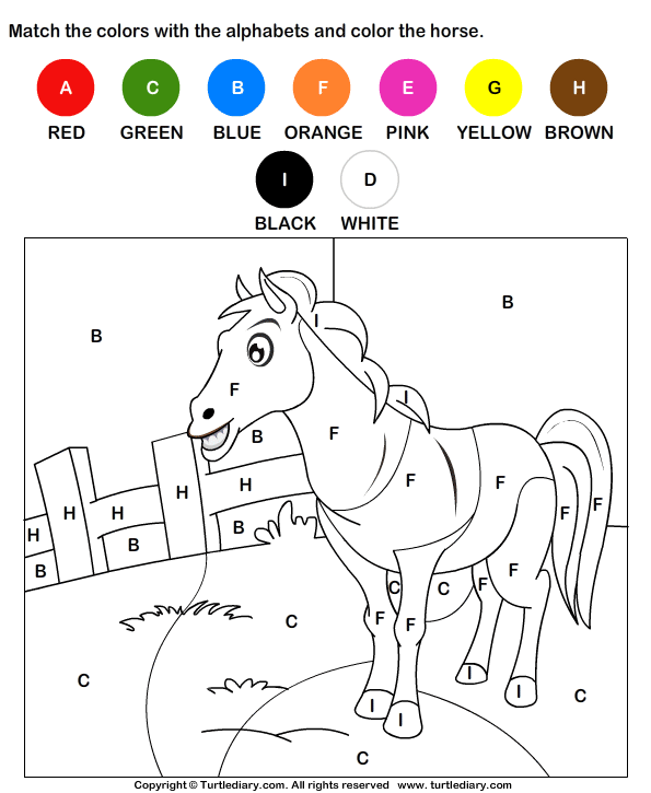 color the horse by alphabets worksheet turtle diary. Black Bedroom Furniture Sets. Home Design Ideas