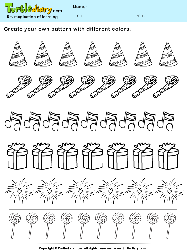 color the objects create your own new year pattern worksheet turtle diary. Black Bedroom Furniture Sets. Home Design Ideas