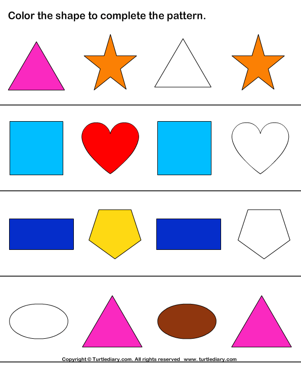Color the Shapes Pattern Worksheet - Turtle Diary