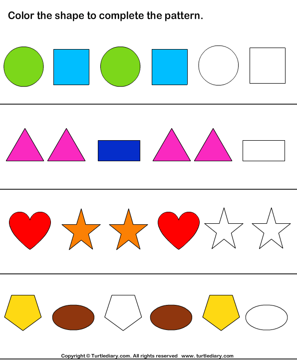 Color The Shapes To Continue Patterns on Pattern Worksheets For Second Grade