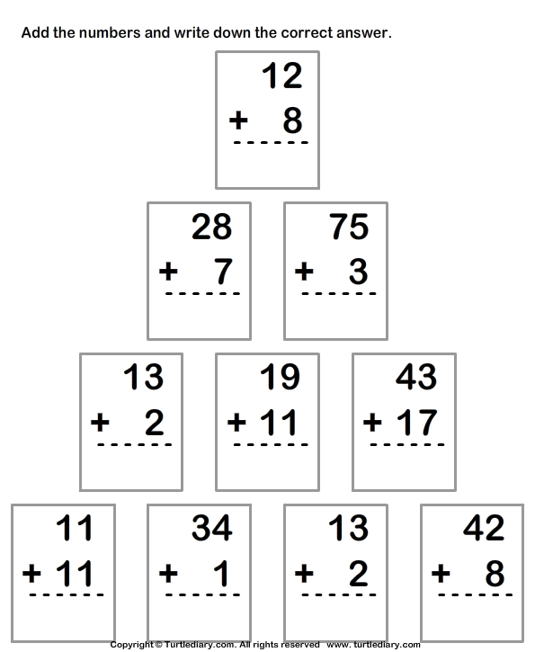 Column Addition Of Numbers Up To Two Digits Worksheet Turtle Diary