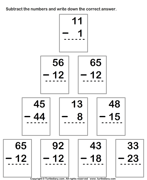 Column Subtraction From Two Digit Numbers Worksheet Turtle Diary – Two Digit Subtraction Worksheets