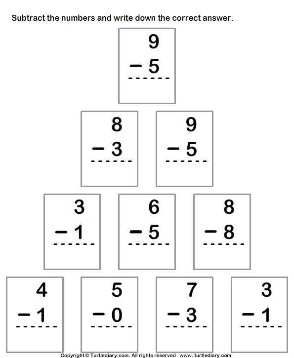 Column Subtraction with Numbers up to Ten Worksheet - Turtle Diary