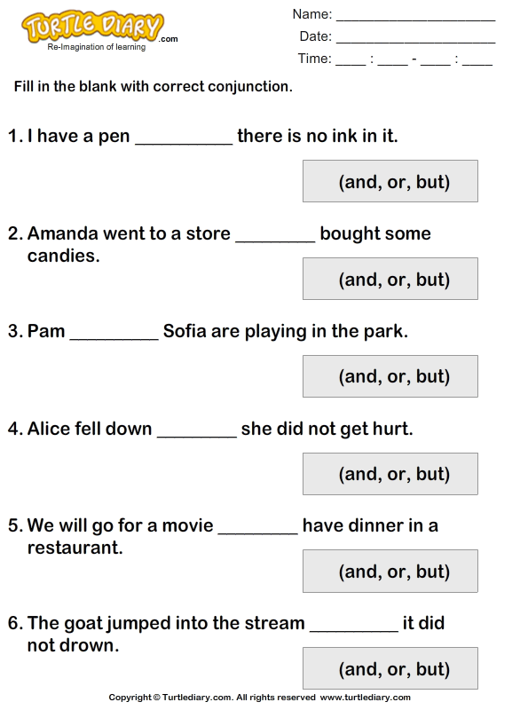 Complete each Sentence using But or And Worksheet - Turtle Diary
