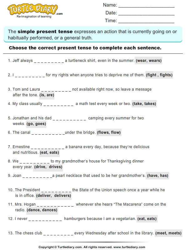 Write the Present Tense of Verb
