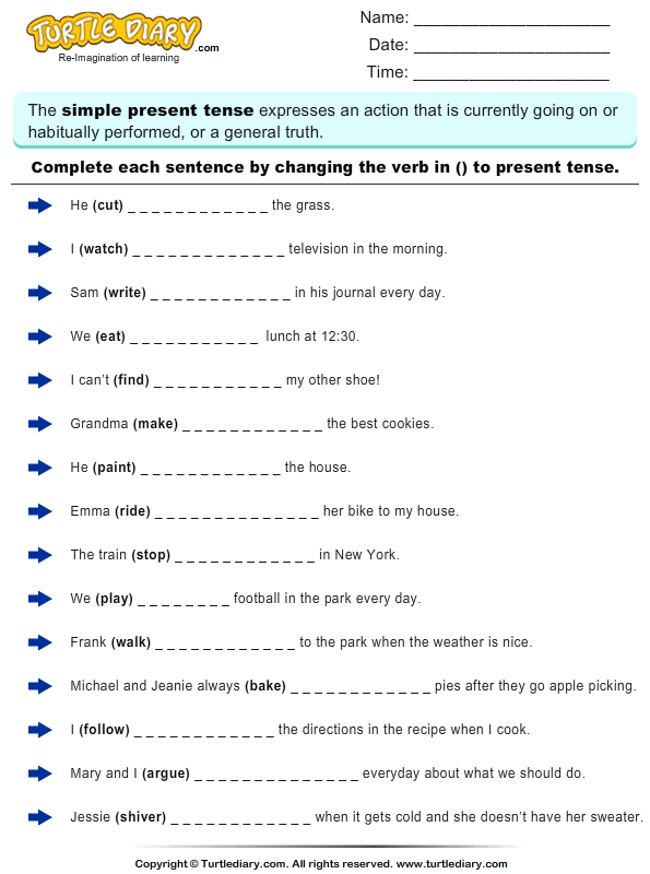 Complete Sentences by Writing Present Tense Form of Verb Worksheet ...
