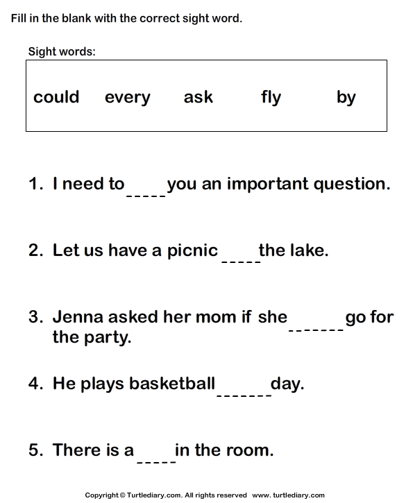 Complete Sight Words in Sentences Worksheet Turtle Diary – Fill in the Blanks Worksheets