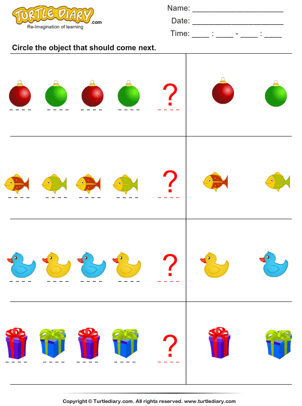 plete The Pattern on preschool logic worksheets