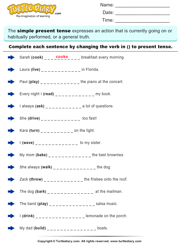 Complete the Sentence by Changing the Verbs to Present Tense Form – Present Tense Verbs Worksheets