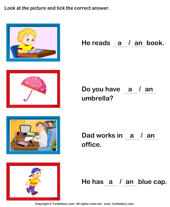 Complete the Sentence with A or An Worksheet Turtle Diary – A and an Worksheets