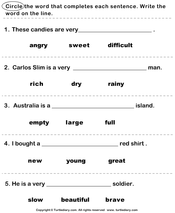 Complete the Sentence with Correct Adjective Worksheet Turtle Diary – Kindergarten Adjective Worksheets