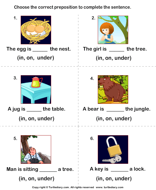 Complete the Sentences using Preposition in On and Under Worksheet – Kindergarten Preposition Worksheets