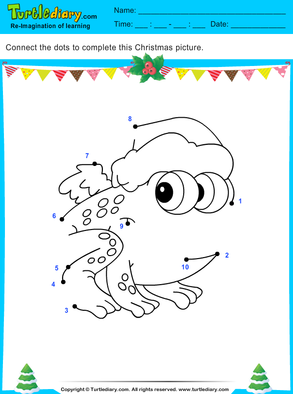 Connect The Dots Christmas Frog Worksheet Turtle Diary