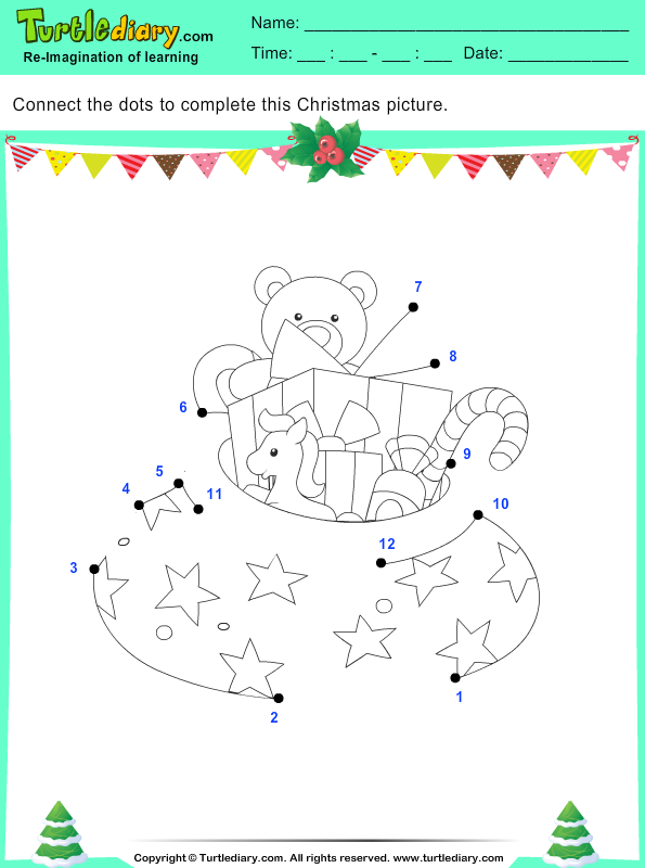 connect the dots christmas gifts worksheet turtle diary. Black Bedroom Furniture Sets. Home Design Ideas