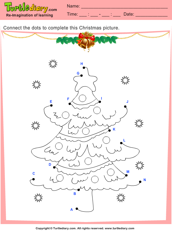 connect the dots christmas tree worksheet turtle diary. Black Bedroom Furniture Sets. Home Design Ideas
