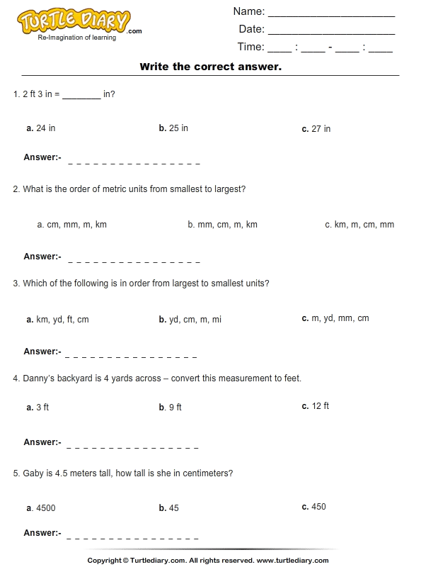 Conversion of Metric Units of Length Worksheet Turtle Diary – Metric Units Worksheet