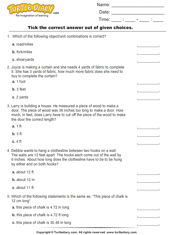 Converting Between Customary Units of Length Worksheet Turtle Diary – Customary Conversion Worksheet