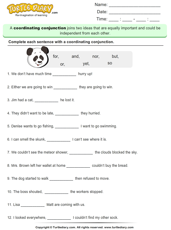 Coordinating Conjunctions Worksheet - Turtle Diary