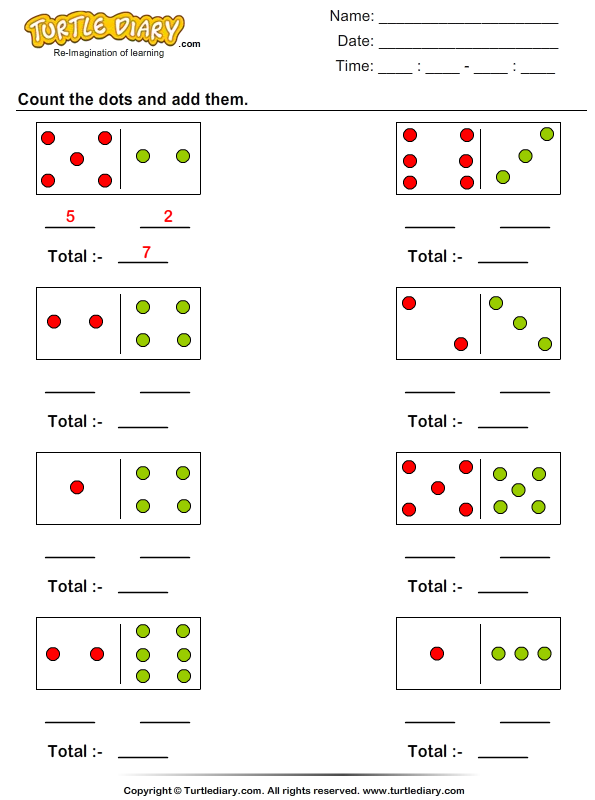Count Dots up to Ten and Add Worksheet - Turtle Diary