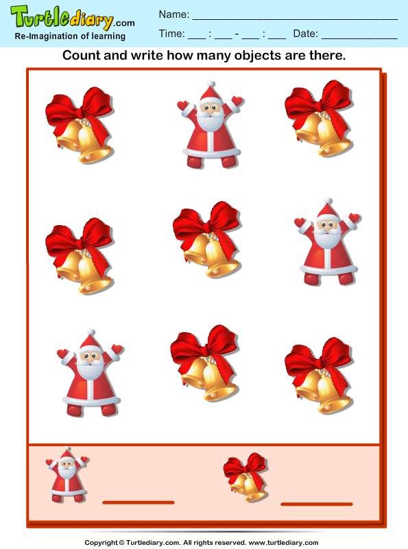 Count How Many Santa Are There Worksheet - Turtle Diary-6193