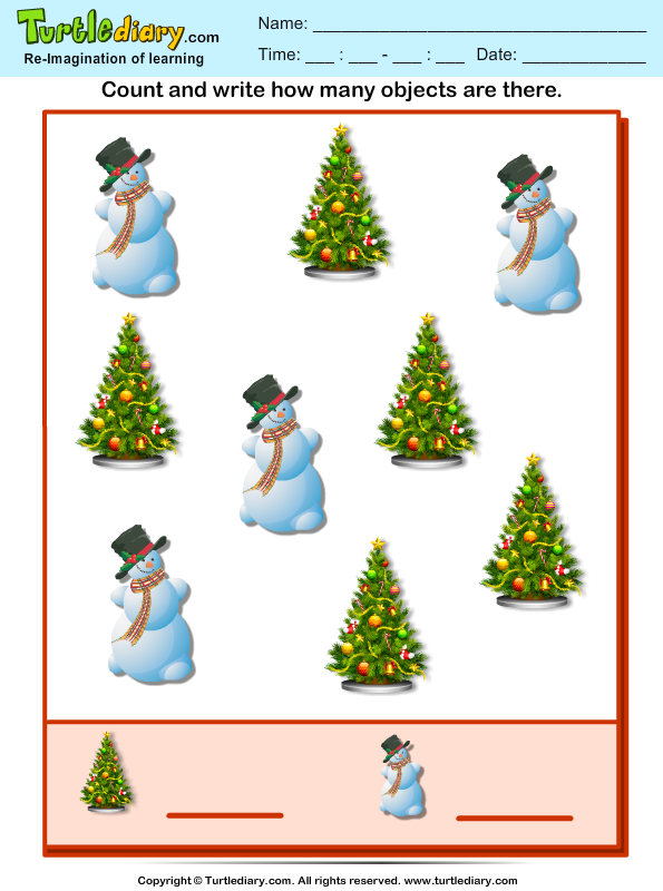 Count How Many Snowman Are There Worksheet - Turtle Diary-6672