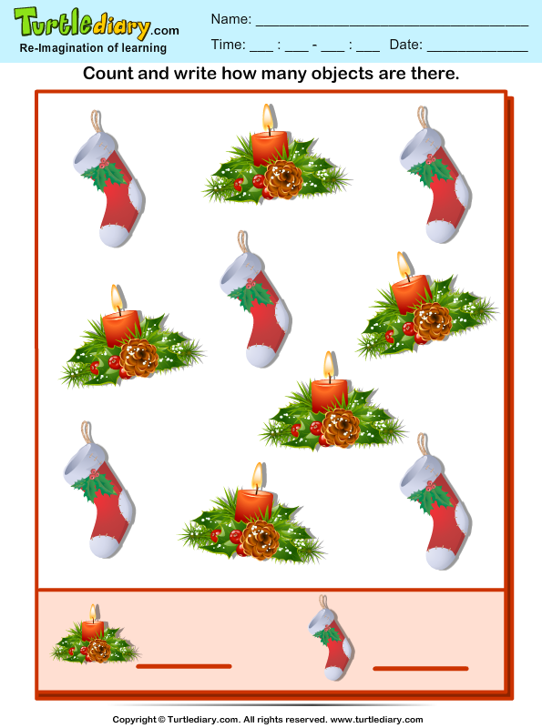 Count How Many Stocking Are There Worksheet - Turtle Diary-6861