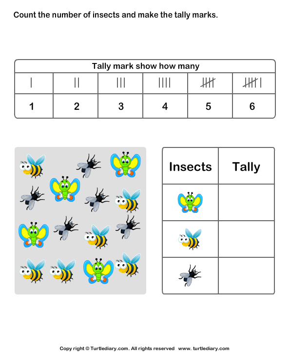 Count Insects and Make Tally Chart Worksheet Turtle Diary – Tally Chart Worksheets