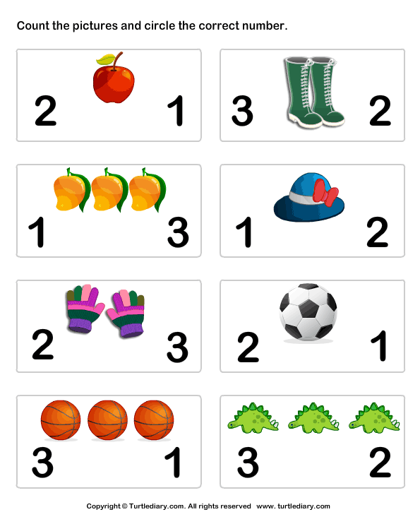 Count Pictures and Circle Worksheet - Turtle Diary