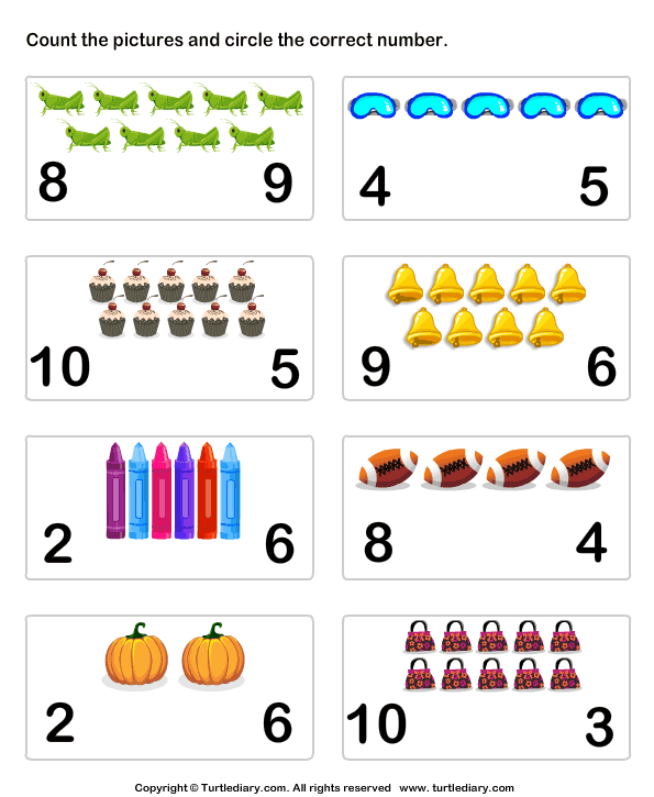 Count Pictures up to Ten Worksheet - Turtle Diary