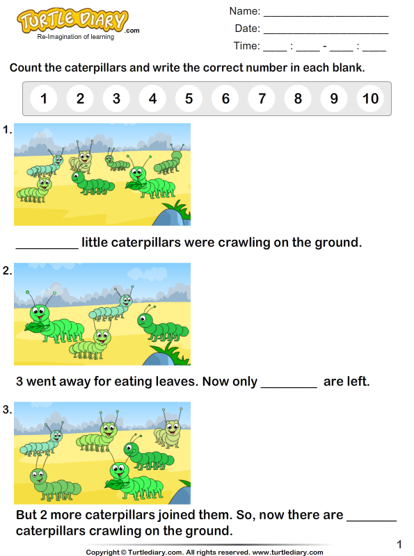 Count The Number Of Caterpillars Worksheet Turtle Diary