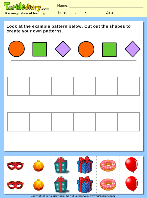 Create Your Own Math Worksheets : Cut and paste pattern worksheets objects