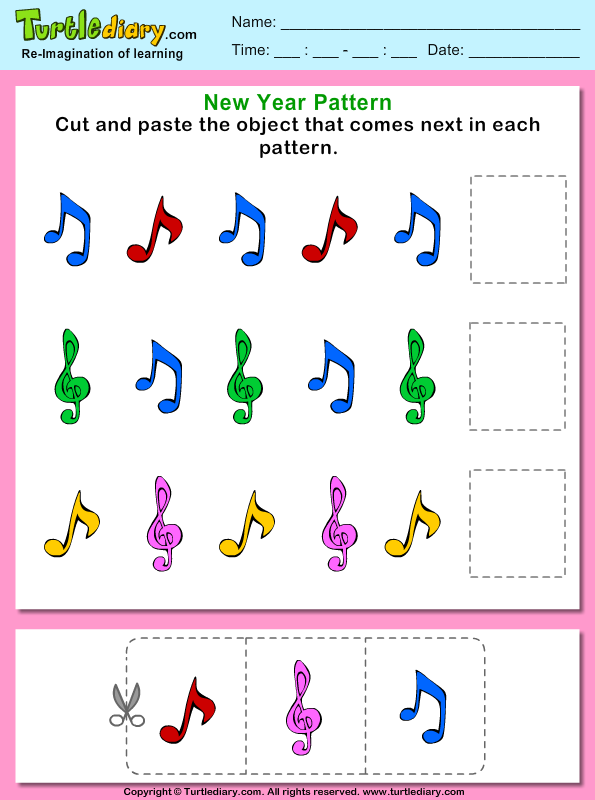 Cut and Paste the Music Pattern That Comes Next Worksheet - Turtle ...