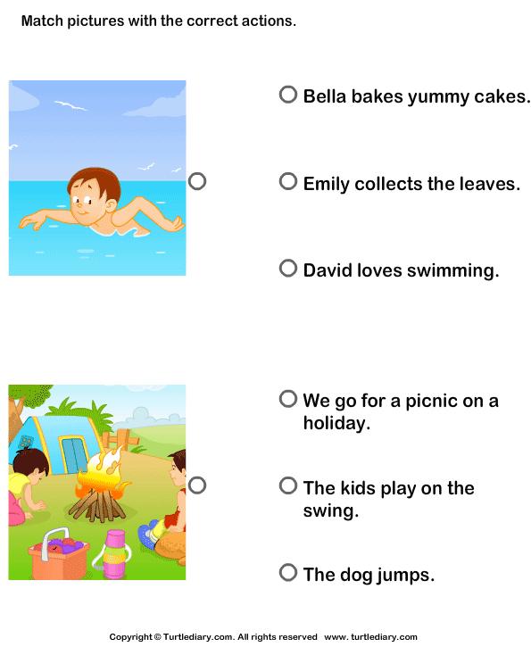 ... Pictures using Sentences with Correct Actions Worksheet - Turtle Diary