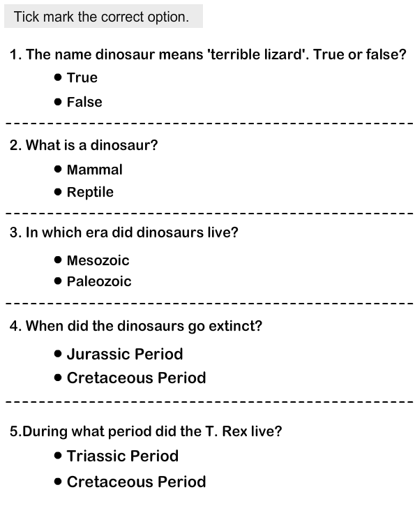 Dinosaurs - Identify the Physical Features