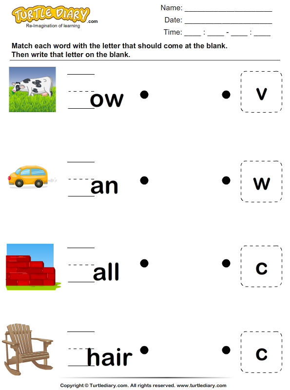 Drawing Lines With Word : Draw a line to match the missing letter and word worksheet