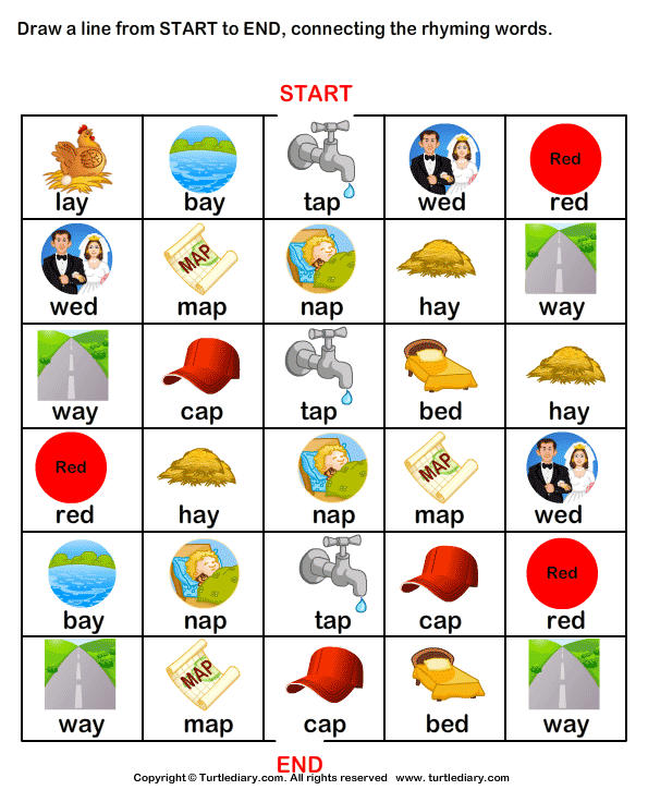Printables Rhyming Words draw line from start to end connecting rhyming words ap worksheet connect the words