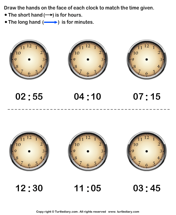 Draw Minute and Hour Hands of Clock