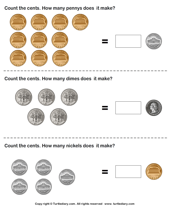 Equivalent Amount with Coins Worksheet Turtle Diary – Coin Worksheet
