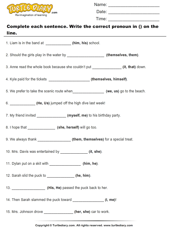 Fill Blanks with Suitable Pronoun Worksheet - Turtle Diary