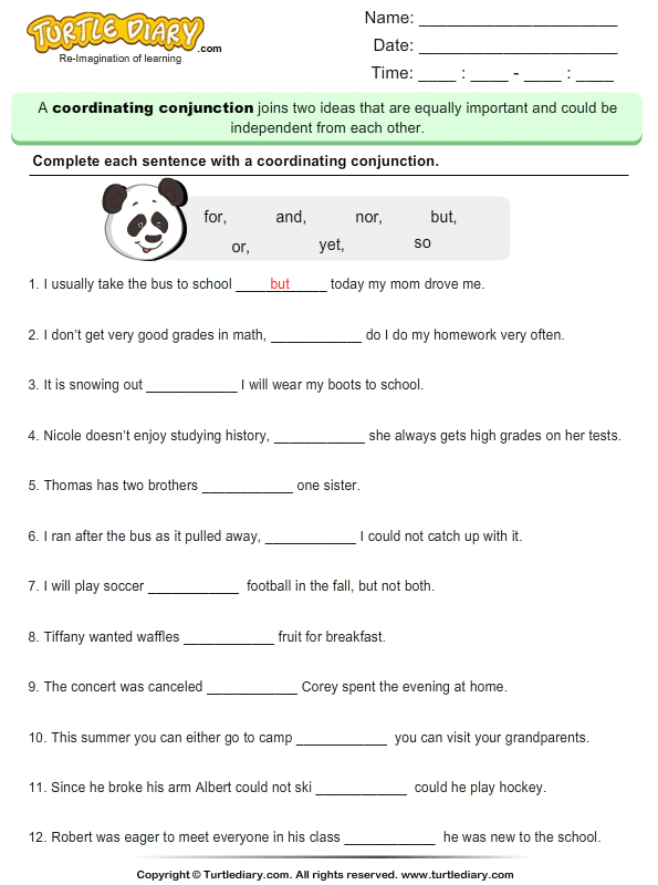 Fill in the Blank with Coordinating Conjunction Worksheet - Turtle ...