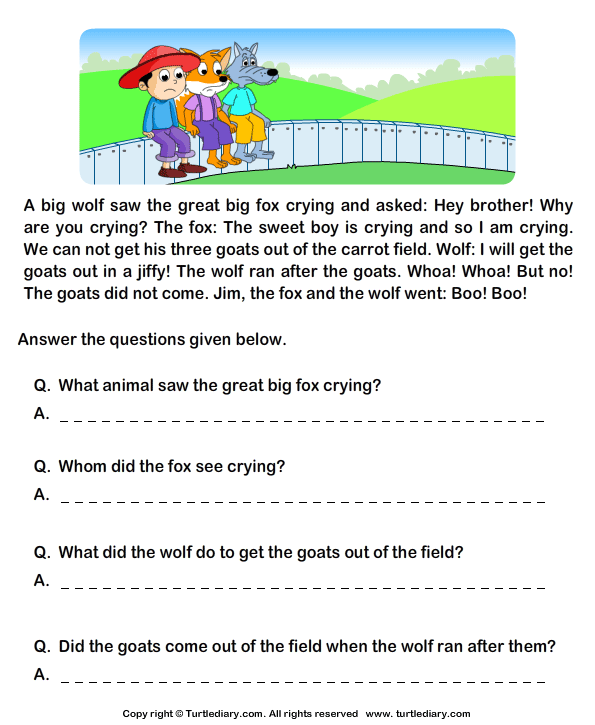 Worksheets Comprehension Worksheets Grade 2 fill in the blanks from comprehension jim and his goats worksheet reading stories